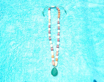 Wood Bead/ Green Charm Necklace