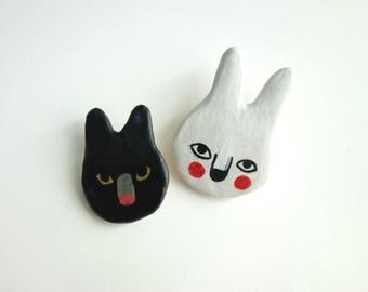 Cat & Bunny Brooch Set