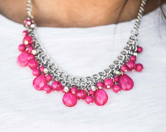 NEW Pink Silver Beaded Necklace and Earring Set
