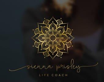 Gold yoga logo, Mandala logo watermark, Custom logo, Gold rose logo, Photography logo and watermark, Blog logo, Premade logo 029