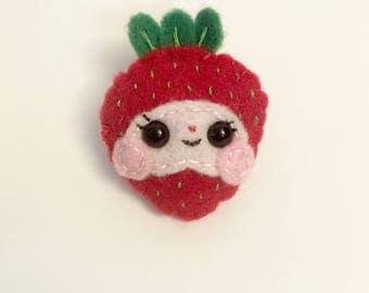"Strawberry Handmade Felt Brooch- ""Sharon"""
