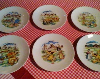 6 Cheese Plates- Vintage French porcelaine set of plates