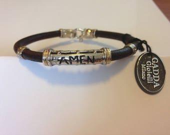 Brown Leather Bracelet, Silver 925, customizable