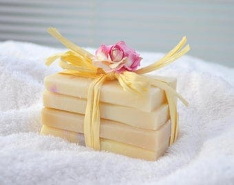 Stack Of Hand Made Soaps- creamy olive oil soaps- small gift- birthday- luxury small gift- beautiful token gift