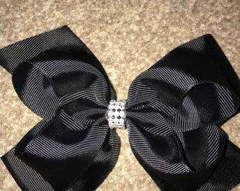 Black diamanté hair bow 8 inch
