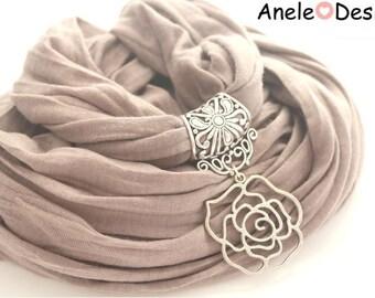 Scarf scarf jewellery Brown flower Mole rose original vintage