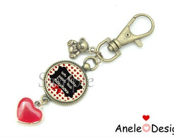 Key ring for the nanny! A kiss for my nanny! cabochon black red glass heart