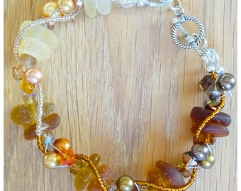 Amber seaglass bracelet