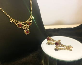 Stunning Vintage Red Rhinestone and Glass Aurora Borealis Necklace and Earring Set in Gold Metal