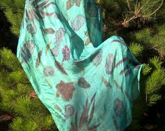 Ecoprint and silk scarf