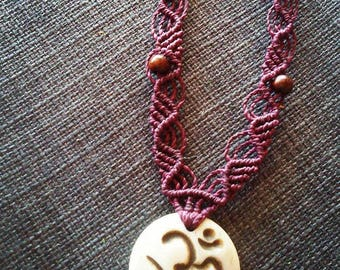 macrame necklace with om pendant