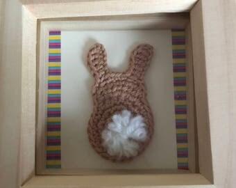 Adorable crochet bunny in box frame!