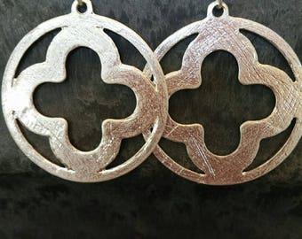 Silver Clover Drop Earrings