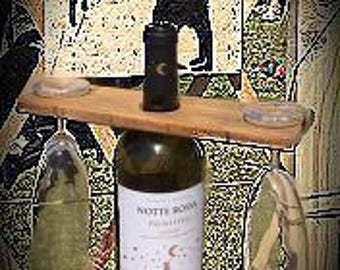 Wooden wine bottle and stemware-rustic-modern Design-wine lovers
