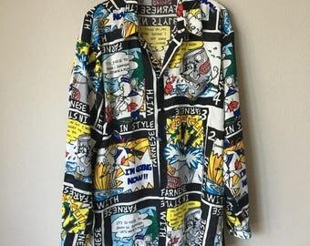 Rare Vintage 90s Comic Full Print Shirt Blouse
