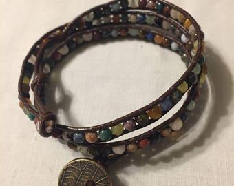 Handmade triple wrapped leather beaded bracelet