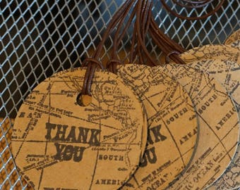 8 World Map Thank You Tags / Leather String / 2 Inches