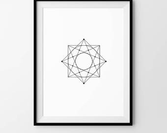 Alchemy, Minimalist, Geometric, Pattern, Digital Download, Art, Print, Poster, Black and White, Alchemy, Modern, Contemporary