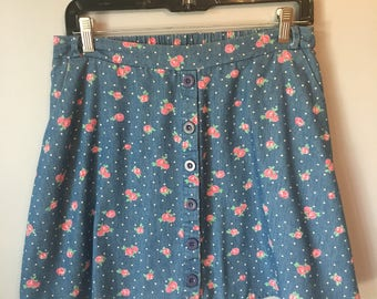 Vintage Women's Floral Polka Dot Skirt