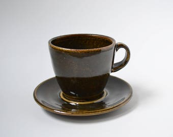 Temmoku Ceramic Teacup with Saucer