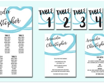 Wedding Day Tiffany stationary package based on <50 pax (see description) Printable Includes Seat Plan, Food Menu, Drink Menu and Table no's