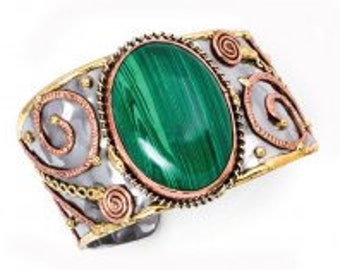 Mixed Metal Malachite Bracelet, mixed metal cuff bracelet, brass copper bracelet, nickle free, handmade, boho chic