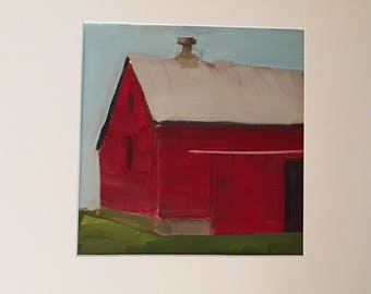 Original Oil Painting, Red Barn in Summer