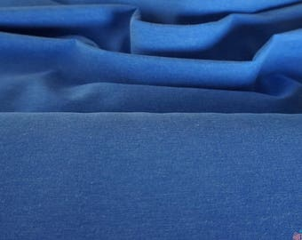 Poly Cotton Chambray Fabric - Mid Blue