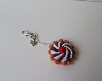 Jewel of bag, Keychain, amigurumi, mini tart with crochet