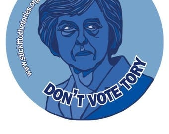 144x45mm Stickers - MAY Don't vote Tory