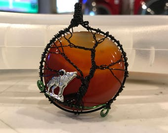 Carnelian wrapped tree of life pendant