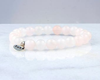 Rose Quartz = Love 8mm Beaded Bracelet