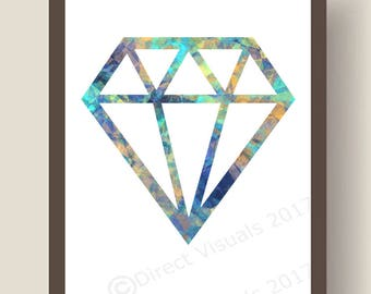 Modern  Patterned Diamond Wall Art Print