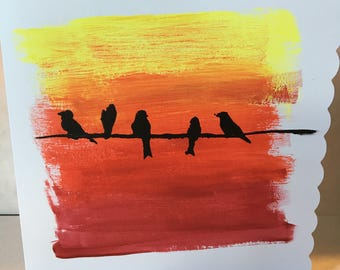 Sunset Birds card, any occasion