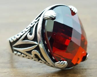 925K Sterling Silver Mens Ring With Garnet Stone
