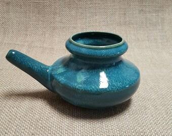 Handmade Ceramic Neti Pot - Double Glazed, Triple Fired- Green Burst
