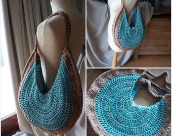 Boho beach bag azure-gold made by PAO!