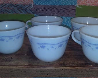Pyrex morning blue coffee or tea cups set of 5