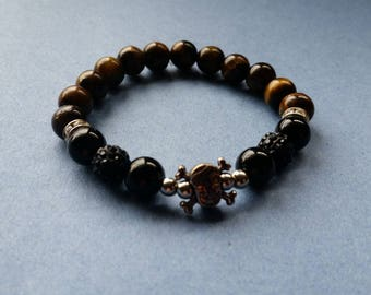 Tiger's eye and black oynx skull men's stretch bracelet