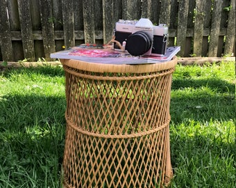 Vintage Bohemian Bamboo Wicker Table Plant Holder Stool