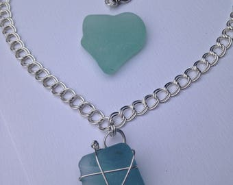 Unique Turquoise Sea Glass Necklace