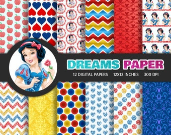 Snow White - Digital Paper + Free Clipart