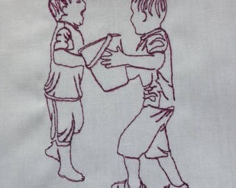 Two Boys Playing at the Creek Redwork Embroidery Design