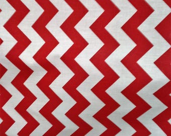 """Fabric Poly cotton Chevron red/white / 60"""" Wide / Sold by the Yard"""
