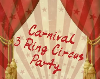 Carnival Three Ring Circus Themed Handmade Decorations Party in a Box Kit
