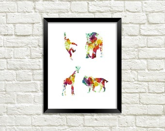 4 Animal Silhouettes in rainbow paint splatter. Digital Download. Instant Download comes complete with 3 sizes 4x6, 5x7, & 8.5x11.