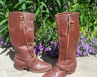 Leather boots vintage laces - made in France - decorative buckle - size 37 / 38