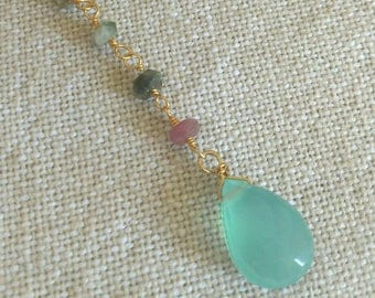 Bohemian necklace, tourmaline and chalcedony