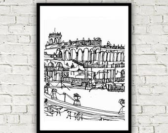 Széchenyi Thermal Bath Budapest One Line Drawing Print
