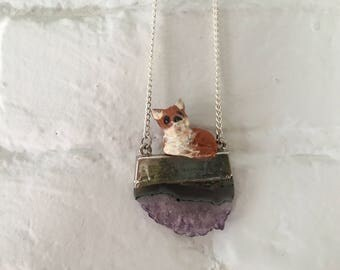 Mini clay fox totem on amythest crystal pendant necklace